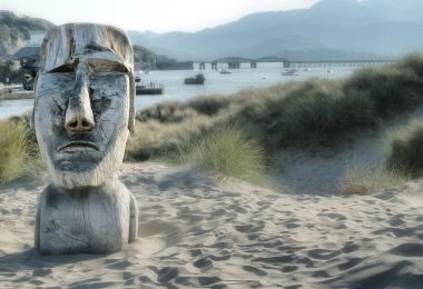 The Carved Head on Barmouth Beach